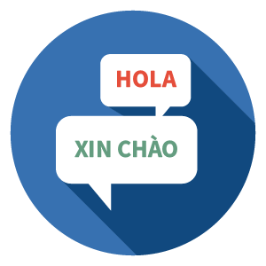 icon image of hello in Spanish and Chinese