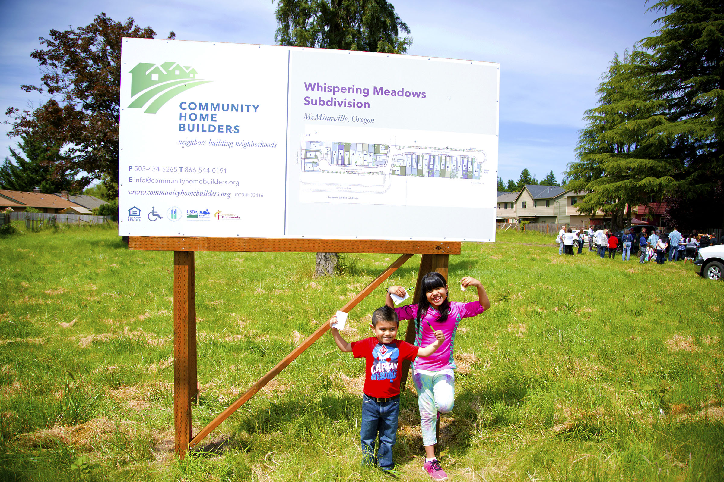 Photo: In McMinnville, Oregon, 26 families celebrated a groundbreaking for their new subdivision where they will be building their way toward homeownership.